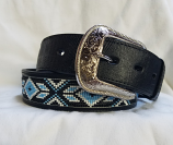 Men's 1 1/2 Black Southwestern Lizard Print Belt by 3D