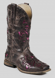 Kid's Brown and Pick Metallic Floral Underlay Boot by Roper Boots